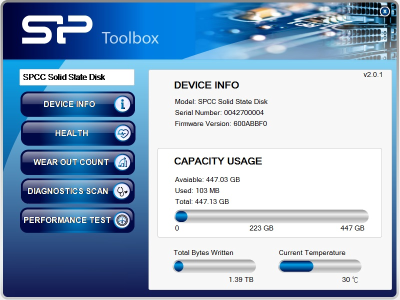 Slim S55 Free-Download of SSD Health Monitor Tool - SP Toolbox Software
