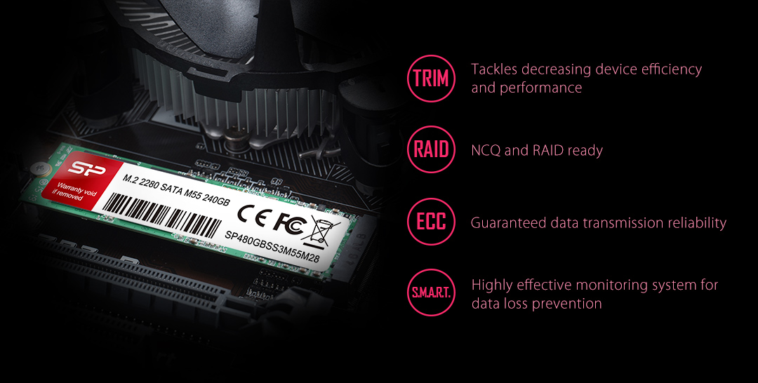 M.2 2280 M55 For Peace of Mind - Guaranteed Reliability and Stability