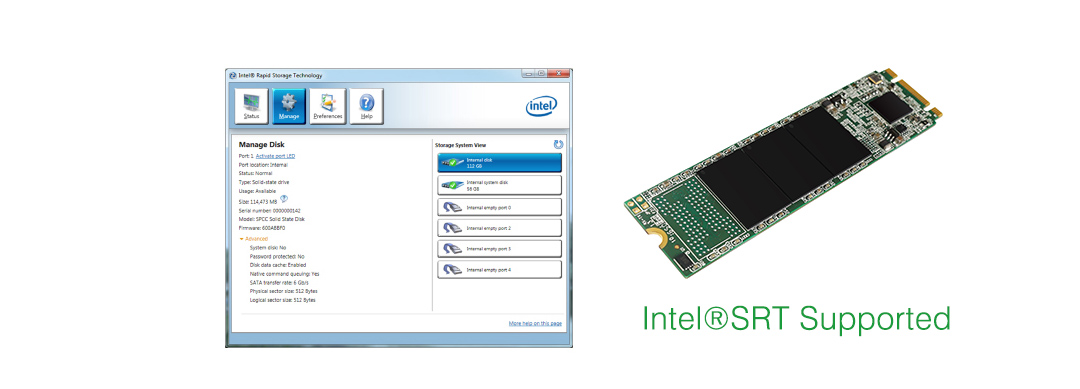 M.2 2280 A55 Intel®SRT Supported for Flexible Configuration