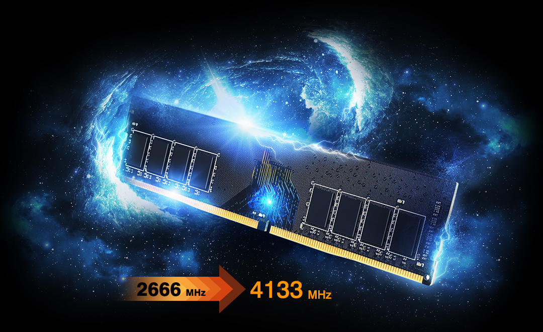 XPOWER AirCool <br> DDR4 Gaming UDIMM<br><font color='#888888' size='2%'>4133/3600/3200/3000/2666 </font> XPOWER Gives You Maximum Power
