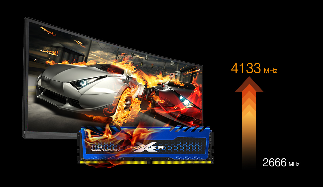XPOWER Turbine<br> DDR4 Gaming UDIMM<br><font color='#888888' size='2%'>4133/3600/3200/3000/2666 </font> Overcome Adversity with XPOWER